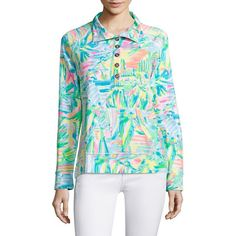 Lilly Pulitzer Captain Popover Top ($108) ❤ liked on Polyvore featuring tops, banded hem tops, lilly pulitzer tops, lilly pulitzer, print top and patterned tops