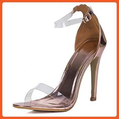 da2f278d82 Open Peep Toe Barely There High Heel Stiletto Sandals Pumps Shoes Gold  Patent Sz 5 -