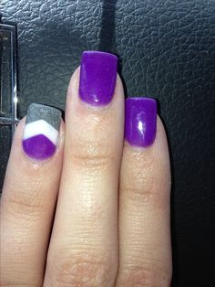 My nails for fall - September . Purple white and gray chevron