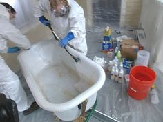 How to reglaze an old clawfoot tub. Use TTU tub in one bathroom? rinse down tub with water after using thinner