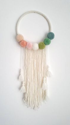Pompom Wall Hanging - Custom To Order Make your wall beautiful with this . - Pompom Wall Hanging - Custom To Order Machen Sie Ihre Wand schön mit diesem . Pompom Wall Hanging - Custom To Order Make your wall beautiful with this . Mur Diy, Dream Catcher Nursery, Dream Catchers, Dream Catcher For Kids, Dream Catcher Boho, Wall Hanging Crafts, Diy Hanging, Diy Bebe, Pom Pom Crafts