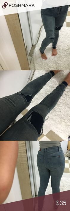 """BDG high waisted skinny Ripped jeans distressed BDG jeans from urban outfitters. Distressed, destroyed ripped vintage style. Ankle jeans. I am 5""""3 and I could still probably roll them up. Worn once. Price is firm. No trades. Size 26x29 BDG Jeans Skinny"""