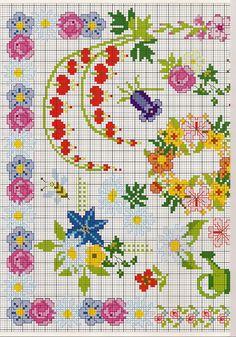 pretty cross stitch flowers