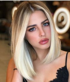 Creative Blonde Balayage Hair Color Ideas to Wear in 2020 Sleek Hairstyles, Straight Hairstyles, Flat Iron Hairstyles, Lob Haircut Straight, Hairstyles Haircuts, Hair Cut Straight, Straight Long Bob, Baddie Hairstyles, Quick Hairstyles