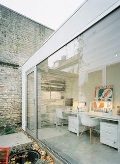 scandanavian modern home office. love all the natural light.