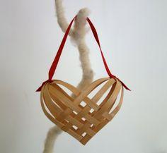 basket weave heart ornament