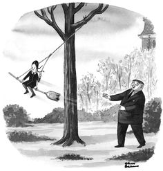 """Gomez Addams spends a little quality time with his daughter, Wednesday, in a cartoon by Charles """"Chas"""" Addams."""