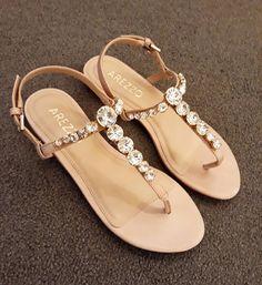 52 New ideas bridal shoes sandals flats heels Shoes Flats Sandals, Cute Sandals, Shoe Boots, Pretty Shoes, Cute Shoes, Me Too Shoes, Bridal Shoes, Wedding Shoes, Shoes World