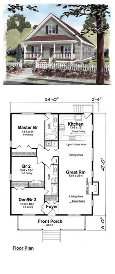 Cottage Style COOL House Plan ID Total Living Area 1428 sq ft 3 bedrooms 2 bathrooms Cottage House Plans, Cottage Homes, Craftsman Cottage, Cottage Style Houses, Tiny Cottage Floor Plans, Craftsman Kitchen, Craftsman Bungalows, Cottage Living, Craftsman Style