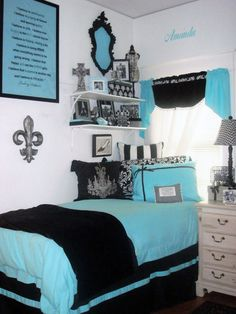 Tiffany Blue and Black Sorority House Room Dorm Decor Dorm Bedding