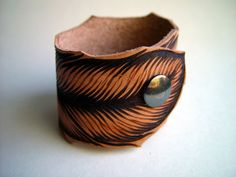 Hand Burned Leather Feather Cuff Bracelet