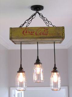 Coca Cola lustre/Plafonnier avec éclairage par OutoftheWdworkDesign