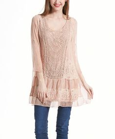 Look what I found on #zulily! Pink Textured Lace Tunic - Plus #zulilyfinds