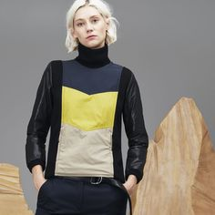 Lacoste Women's Fashion Show Stand-Up Collar Colorblock Taffeta... ($290) ❤ liked on Polyvore featuring tops, hoodies, sweatshirts, color blocked sweatshirt, colorblock sweatshirts, lacoste sweatshirt, lacoste tops and colorblock top