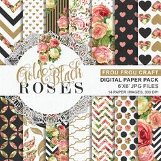 Gold Black Roses Digital Paper Pack Instant Download Shabby Chic Romantic Garden Vintage Rustic Red Pink Yellow Green White 6x6 inches