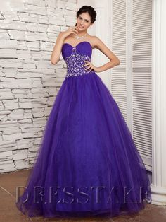 Ball Gown Sweetheart Floor-length Beading Organza Purple Quinceanera Dresses