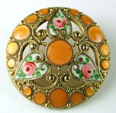 Antique French Enamel Button Hand Painted Floral Hearts w Orange Pierreries | eBay