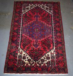 1980s+HandKnotted+Hamadan+Persian+Rug+by+carpetshopprincess