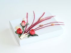 OOAK Gift Box Coral Ostrich Feather Rose Shell by Vdesign2009, www.luxurybyvera.com