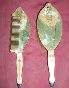 Xquisite Roaring 20s Pair of Figural Vamps Art Deco Celluloid Rhinestone  Flapper Sparkle Patterned Brush & Comb Set. $150.00, via Etsy.