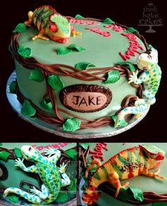 Chameleon and lizard cake topper