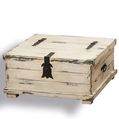 Buy The Cape Cod Steamer Trunk, Coffee Table and Storage Box, Approx. 2Ft Square, Rustic Creamy White, Pale Blue, Vintage Gray, Distressed Finish, Nautical Style, Black Hardware, By Whole House Worlds - Topvintagestyle.com ✓ FREE DELIVERY possible on eligible purchases