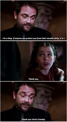 "11x03 The Bad Seed [gifset] - ""Thank you, Uncle Crowley."" - Amara and Crowley, Supernatural"