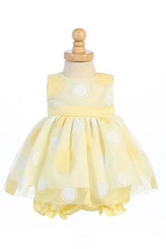 Infant and Toddler Dress Style M681-Sleeveless Glittered Polka Dot Tulle Dress with Bloomers  Whether your little one is attending a wedding, birthday party, or any other special event, this dress is your go to piece for this season. The sleeveless style features the cutest polka dot design full of glittery fun and a tulle skirt with bloomer for your little angel.  http://www.flowergirldressforless.com/mm5/merchant.mvc?Screen=PROD&Product_Code=L_M681Y&Store_Code=Flower-Girl&Categor..