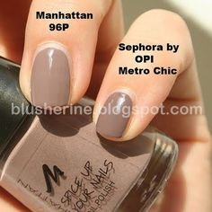 """if you live in Austria, Germany or Switzerland, you might be able to get your hands on a dupe of """"Metro Chic"""", the infamous nail polish by """"Sephora by OPI"""".  Manhattan Cosmetics came out with a new limited nail polish edition called """"Spice up your Nails"""". There are six colors in the collection, they don't have names, only numbers, the Metro Chic dupe is number 96P."""