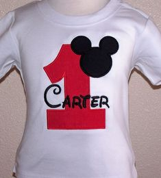 mickeymouse tie shirt for onesie | Boys Mickey Mouse Red Number Birthday Shirt Or Onesie (More Color ...