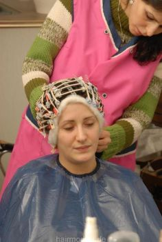 Just relax, you are going to have pretty curls in a little while New Perm, Satin Nightie, Perm Rods, In A Little While, Hair And Beauty Salon, Roller Set, Curlers, Hairdresser, Stylists