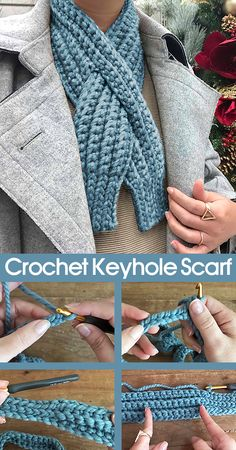 Crochet Keyhole Scarf - - Beautiful and warm scarf for cold winter days. Source by crochethub Knit Or Crochet, Crochet Scarves, Crochet Shawl, Crochet Crafts, Crochet Clothes, Crochet Stitches, Crochet Projects, Free Crochet, Knitting Patterns