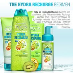 Brand new Garnier Fructis Hydra Recharge replenishes hair with ultra-hydration—without heaviness. Make your dry hair history!