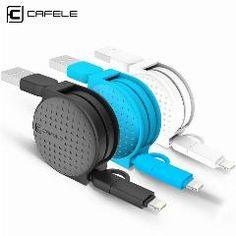 [ 49% OFF ] Cafele 1M 2 In 1 Dual Interface Retractable Usb Cable For Android Micro For Apple Ios Iphone 5 6 7 Plus 8 Pin Charging Cable