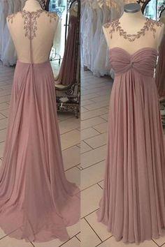 Chiffon prom dress, ball gown, blush prom dress for teens