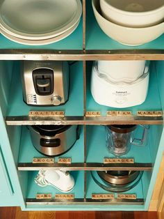 Organize your appliances, and use scrabble letters to label them!
