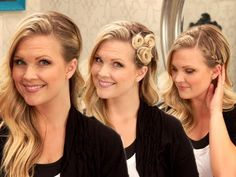 Three different hairstyles; I like the middle pinwheels and the last one with the braid tucked behind the ear