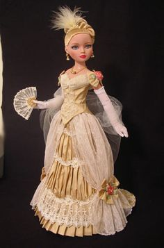 OOAK Victorian inspired  2-pc Golden Ensemble for Ellowyne includes Skirt, Bodice, Gloves, Stole, Fan, Hair Piece and Jewelry Set, by jkinmcd via eBay - SOLD 9/10/14  $134.50