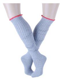 Gri Melange Diz Üstü Çorap