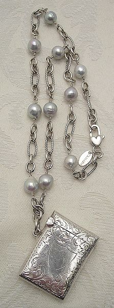 available at my boutique--Antique Silver Vesta & Pearl Necklace, Tamara Berg jewelry