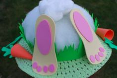 Upside down Easter bunny bonnet - Quick and easy Easter bonnet ideas - Netmums Easter Activities, Easter Crafts For Kids, Boys Easter Hat, Toddler Activities, Craft Stick Crafts, Diy Crafts, Easter Hat Parade, Boyfriend Crafts, Easter Bunny Decorations