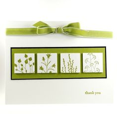 handmade card ... green and whiite ... inchies on a panel ... Pocket Silhouettes ... lovely card!