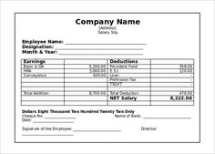 Employee Salary Slip Format Pdf 7 Payslip Templates Excel Pdf Formats, Payslip  Template Sample Cash Slip Template 7 Free Documents, Wage Slip Template  More ...