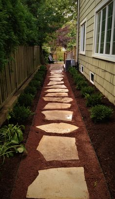backyard garden paths lead our eye through a garden, and add allure and focus as effectively. Every backyard wants a path Side Yard Landscaping, Backyard Walkway, Outdoor Walkway, Backyard Patio Designs, Walkway Ideas, Landscaping Ideas, Side Walkway, Walkway Designs, Gravel Pathway