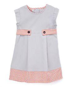 Love this Gray Ribbed Red Stripe Seersucker A-Line Dress - Toddler & Girls on #zulily! #zulilyfinds