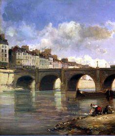 """Le Pont de la Tournelle, by Johan Barthold Jongkind (20"""" x 17"""") 1859."""