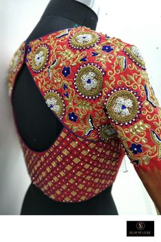 End Customization with Hand Embroidery & beautiful Zardosi Art by Expert & Experienced Artist That reflect in Blouse , Lehenga & Sarees Designer creativity that will sunshine You & your Party. Wedding Saree Blouse Designs, New Blouse Designs, Stylish Blouse Design, Blouse Back Neck Designs, Indian Blouse Designs, Patch Work Blouse Designs, Traditional Blouse Designs, Designer Blouse Patterns, Sewing Patterns