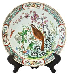 Antique Chinese Bird Charger w/ Stand | One Kings Lane