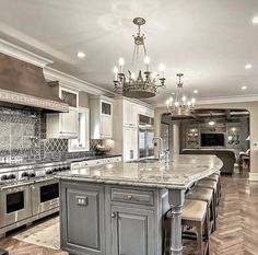 50 Best Modern Kitchen Design Ideas - The Trending House Luxury Kitchen Design, Luxury Kitchens, Interior Design Kitchen, Cool Kitchens, Small Kitchens, Dream Kitchens, Diy Interior, Interior Decorating, Decorating Ideas