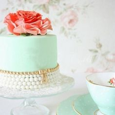 Mint-coloured Wedding Cake with Pearl Decor and Coral Floral Topper {Nadine's Cakes}